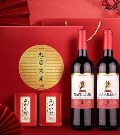高档红酒礼盒 法国原瓶进口拿破仑干红葡萄酒2瓶+武夷山小种茶20