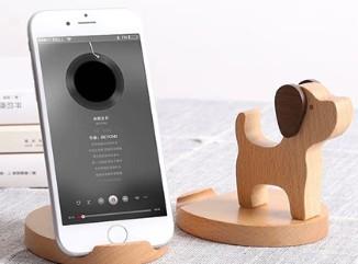 原木可爱懒人手机支架创意小动物座架免费刻字定制礼品摆件