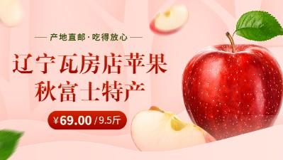 辽宁瓦房店苹果秋富士特产应季水果拍下发净含量9.5斤包邮